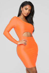 Cut To The Point One Shoulder Dress - Neon Orange