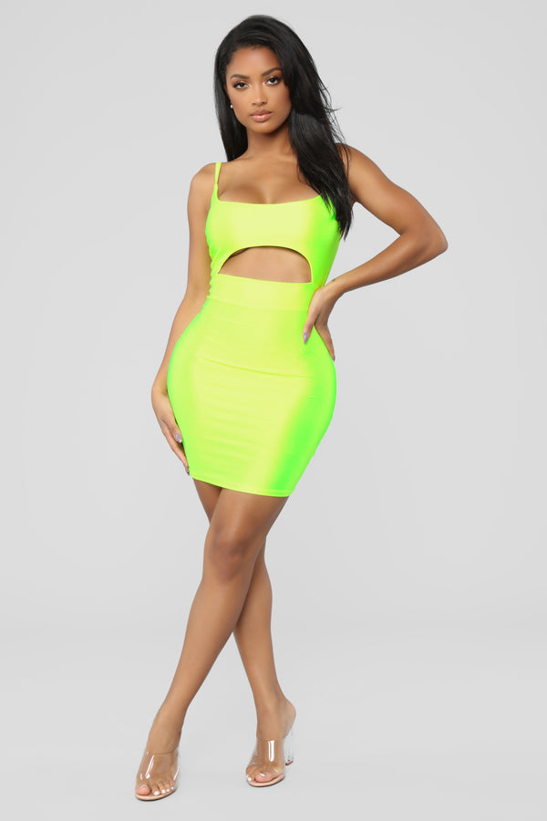 576dbad021 Cut To The Chase Mini Dress - Neon Yellow