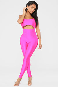 A Cut Above The Rest Jumpsuit - Hot Pink Angle 1