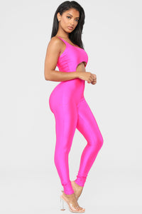 A Cut Above The Rest Jumpsuit - Hot Pink Angle 3