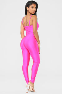 A Cut Above The Rest Jumpsuit - Hot Pink Angle 4