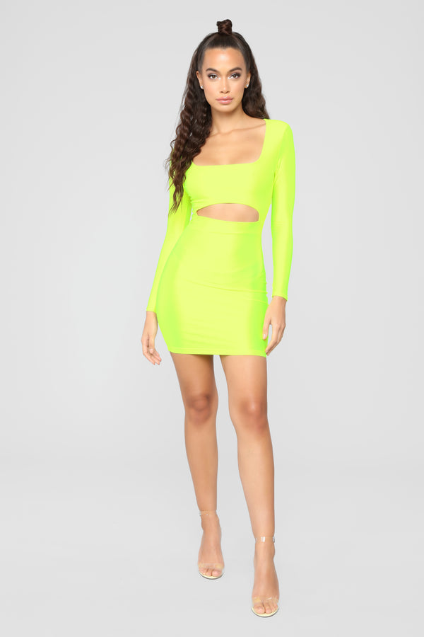 b66fb1431a1 GNO Again Cutout Mini Dress - Neon Yellow