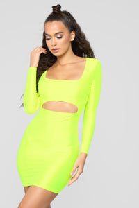 GNO Again Cutout Mini Dress - Neon Yellow Angle 3