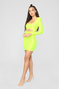 GNO Again Cutout Mini Dress - Neon Yellow Angle 4