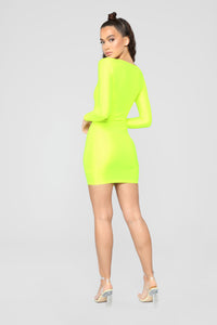 GNO Again Cutout Mini Dress - Neon Yellow Angle 5