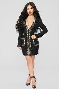 Stepping Out Tonight Embellished Dress - Black