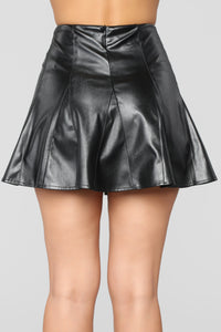 Baby Girl Vegan Leather Skirt - Black