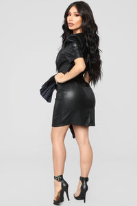 Give It A Whirl PU Leather Dress - Black