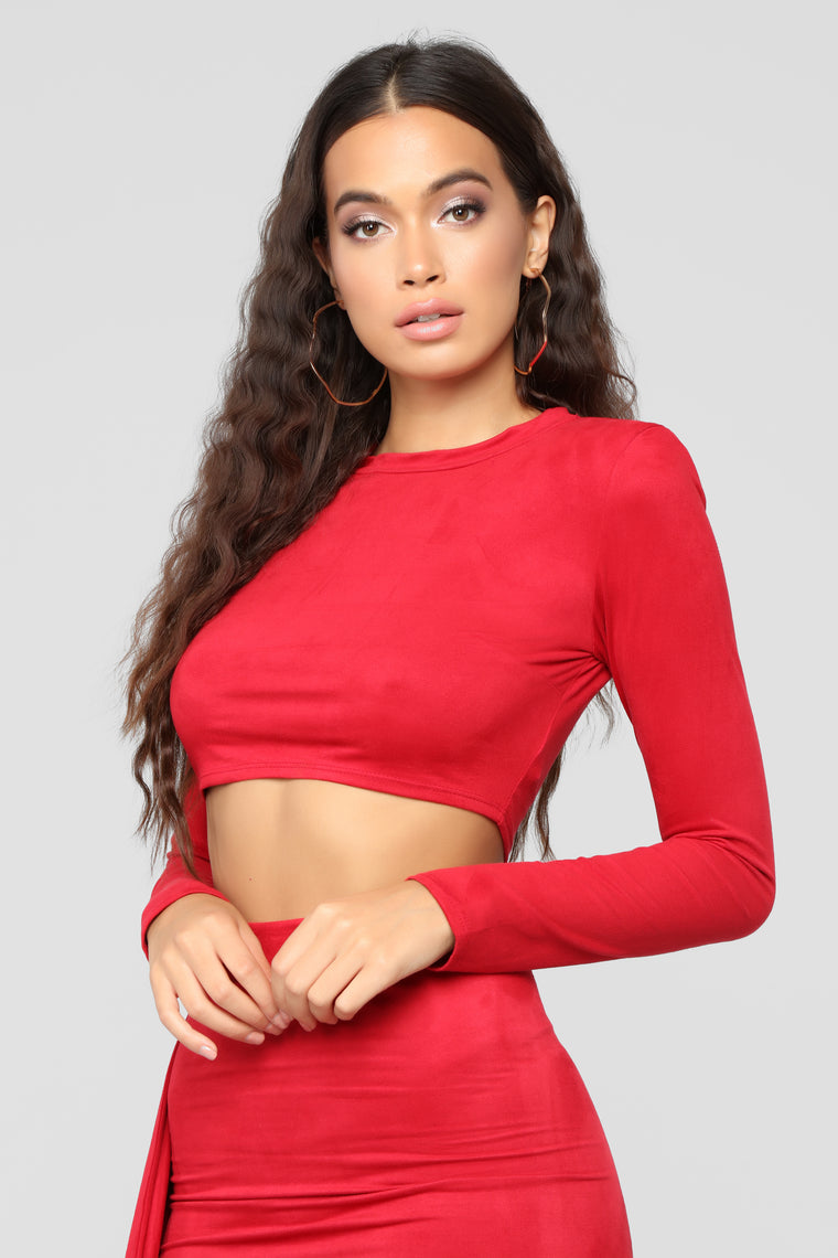 Don't Suede It Skirt Set - Red