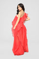 Elena Ruffled Maxi Dress - Red