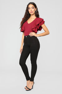 Jules Ruffle Top - Burgundy