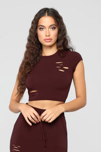 Casual Lover Top - Burgundy Angle 1