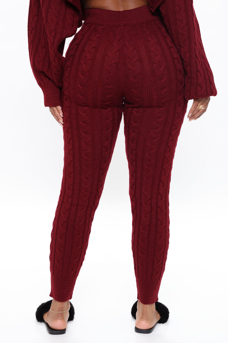 Meet Me Half Way Leggings - Burgundy