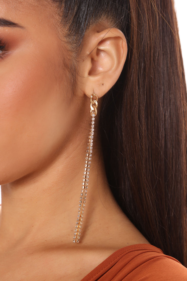 Got Your Attention Rhinestone Earrings - Gold