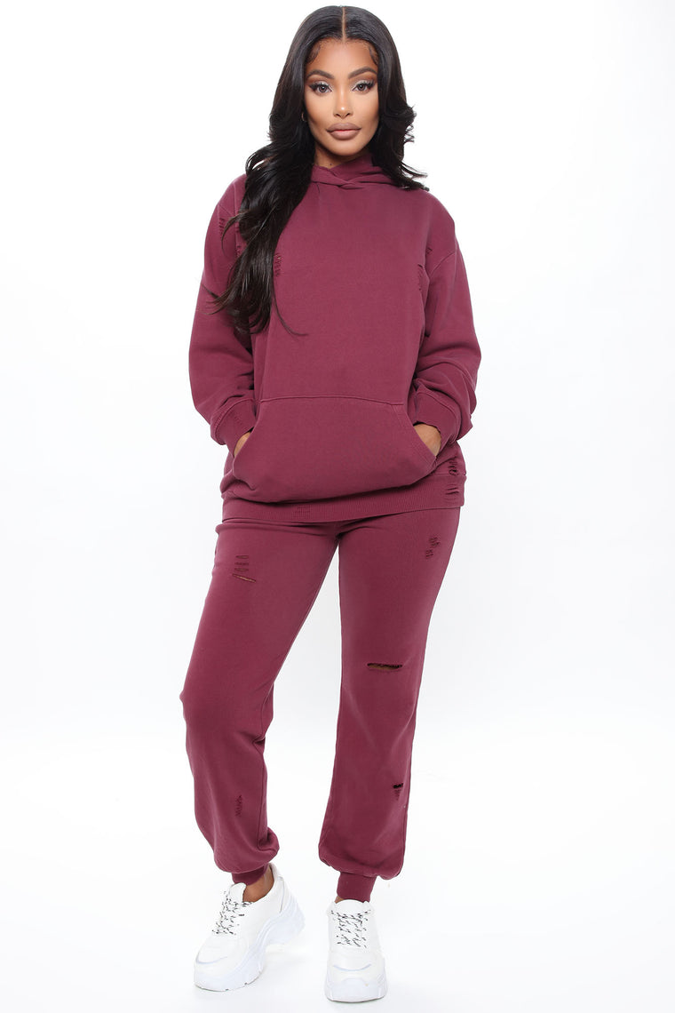 Take Care Of You Distressed Jogger - Burgundy