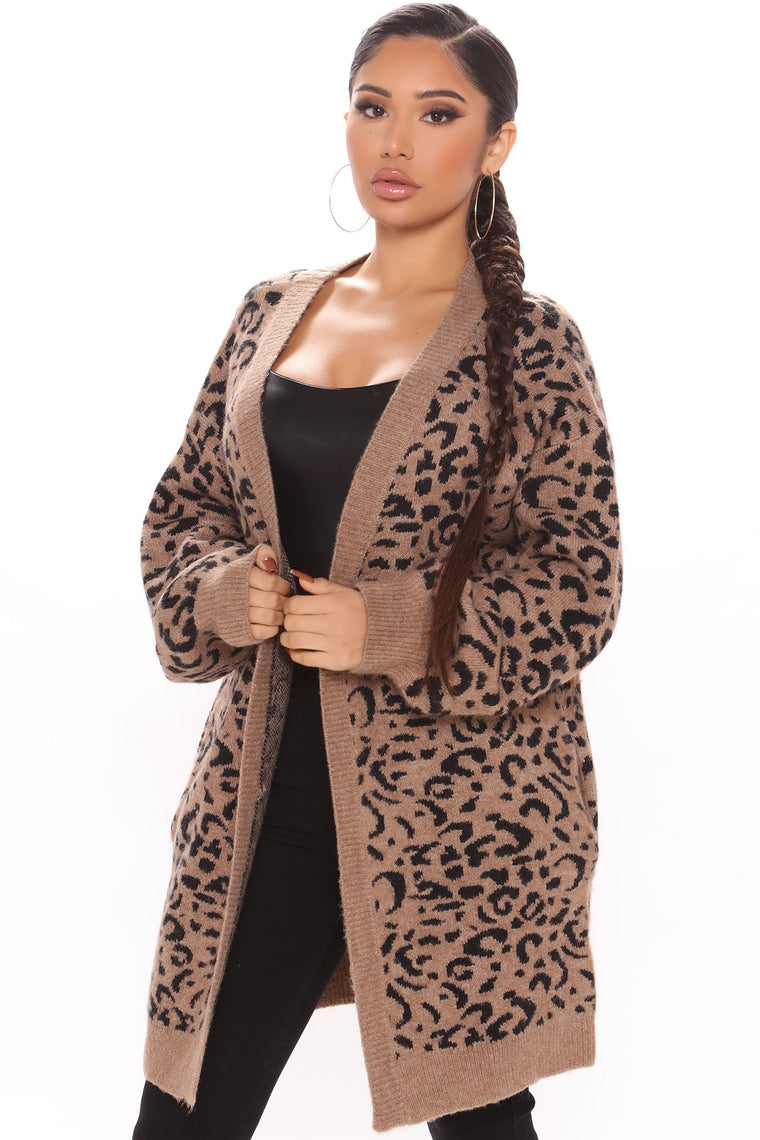 Prowlin' Around Leopard Cardigan - Brown/combo