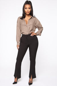 I'm The Boss Button Down Shirt - Taupe Angle 2