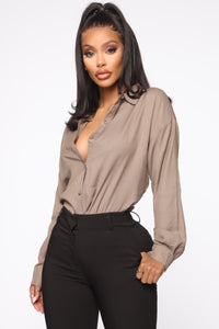 I'm The Boss Button Down Shirt - Taupe Angle 1
