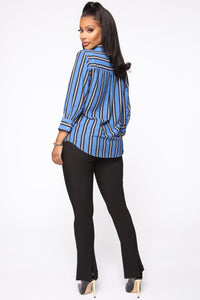 Stripes On Stripes Button Down Shirt - Blue Angle 5