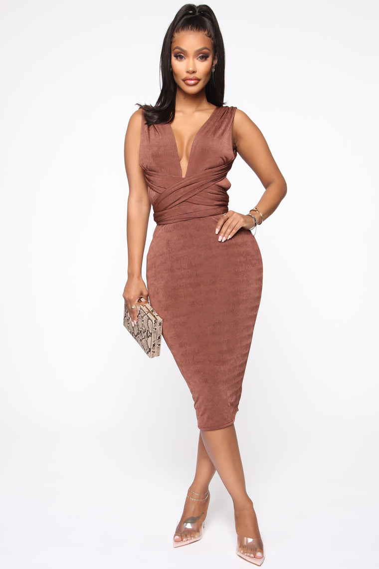 More Than Magical Midi Dress   Brown by Fashion Nova