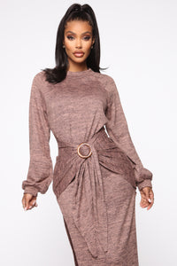 Showy And Cozy Sweater Maxi Dress - Tan