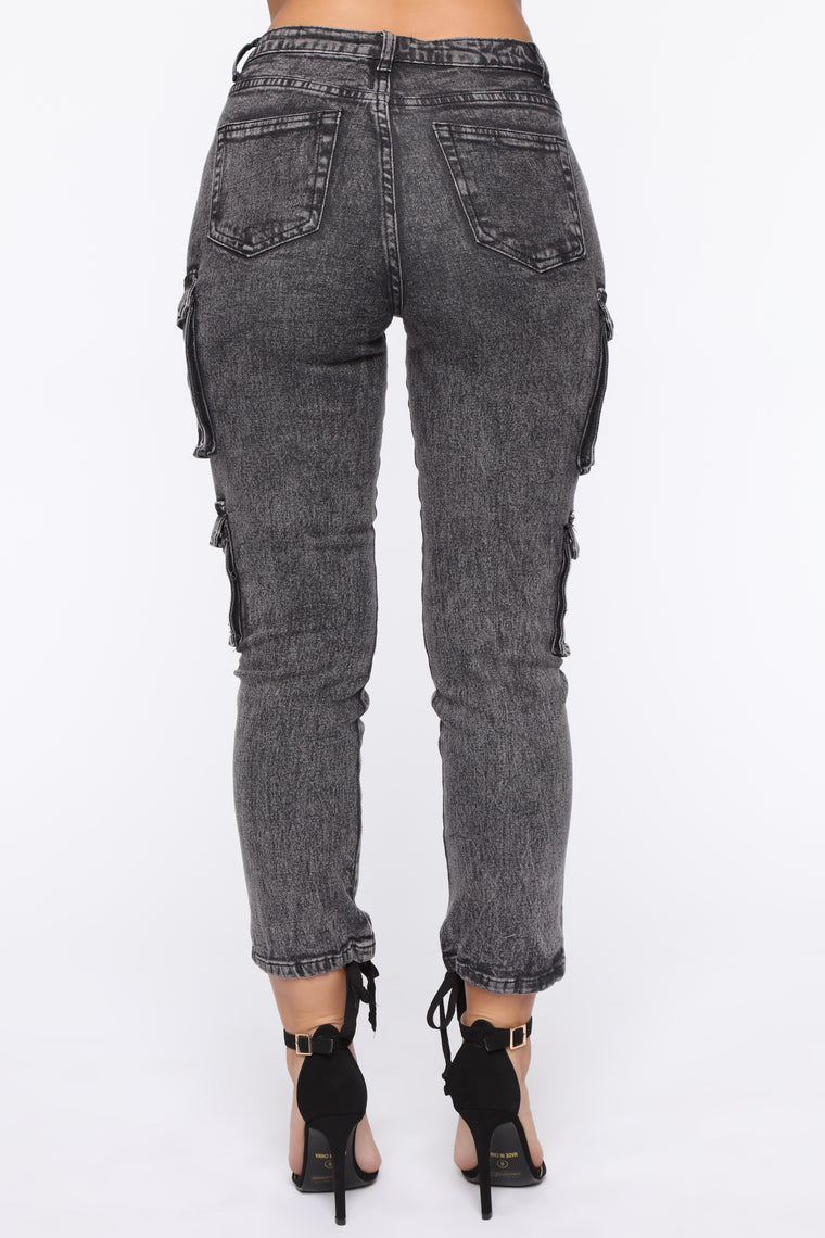 I'd Rather Be Wild Cargo Jeans - Black