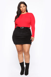 Pull Me Closer Long Sleeve Top - Red