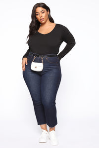 Stacy V Neck Long Sleeve Top - Black
