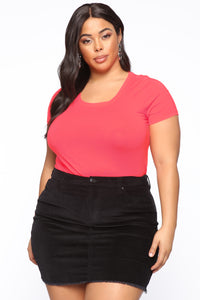 Monica Scoop Neck Top - Neon Pink