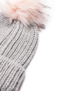 Fluff And Stuff Beanie - Grey/Pink