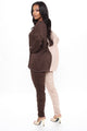 In A Split Second Colorblock Ruched Legging Set - Brown Combo