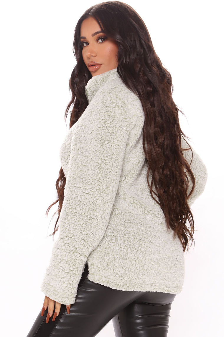 Feel So Cozy Sherpa Pullover - Moss