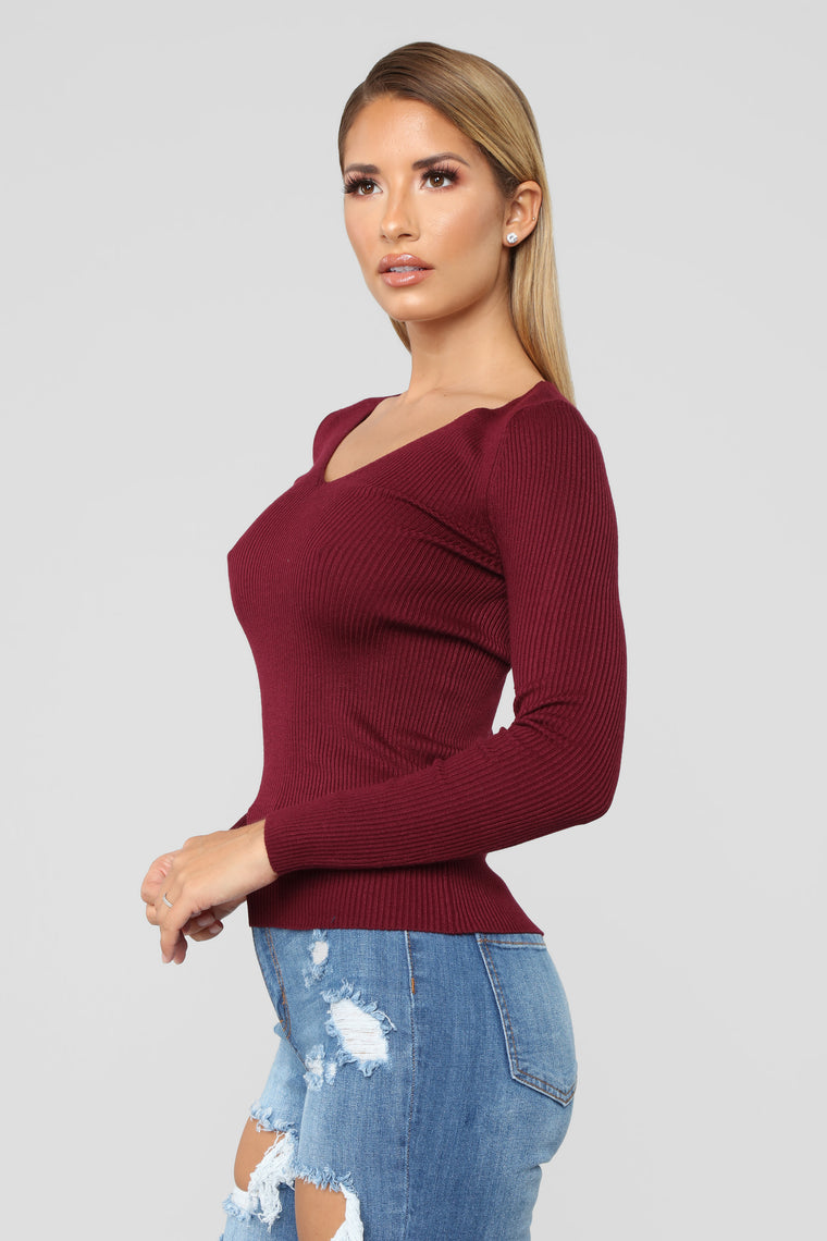 Whenever Ribbed Sweater - Burgundy