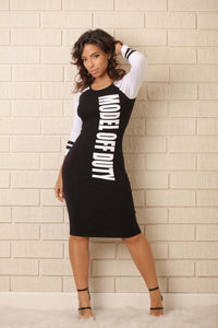 Model Off Duty Dress - Black/White Angle 4