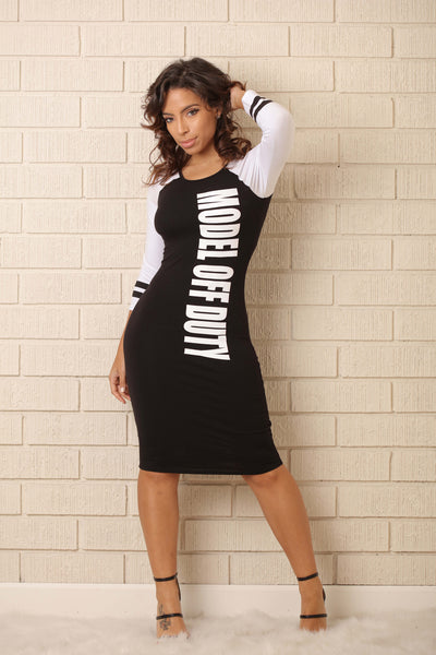 Model Off Duty Dress - Black/White