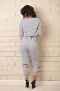On the Run Jumpsuit - Heather Grey
