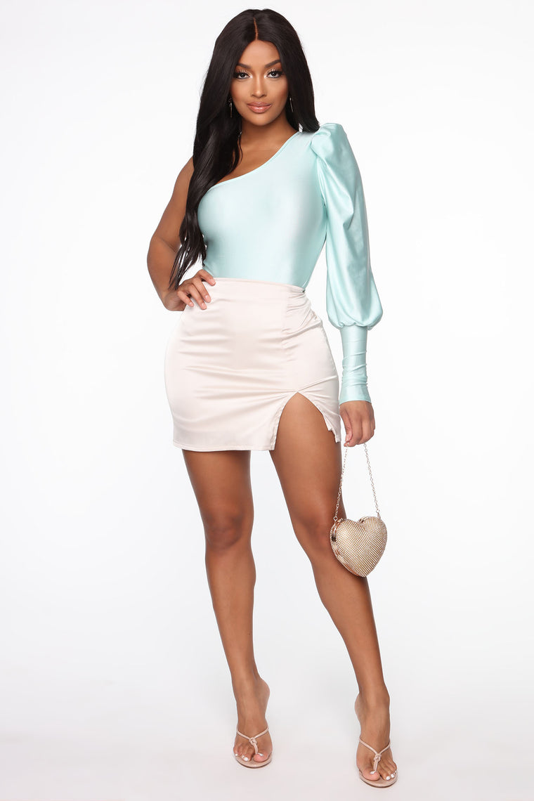 One Way To Puff Sleeve Bodysuit - Mint