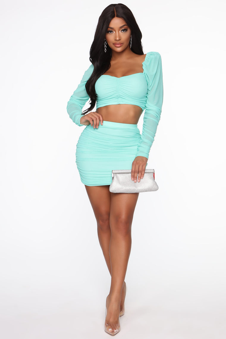 Come And Get Me Ruched Skirt Set - Mint