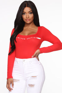 For This Time Only Bodysuit - Red Angle 3