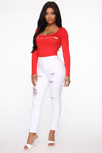 For This Time Only Bodysuit - Red Angle 4