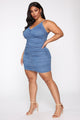 Just A Ruched Denim Mini Dress - Medium Wash
