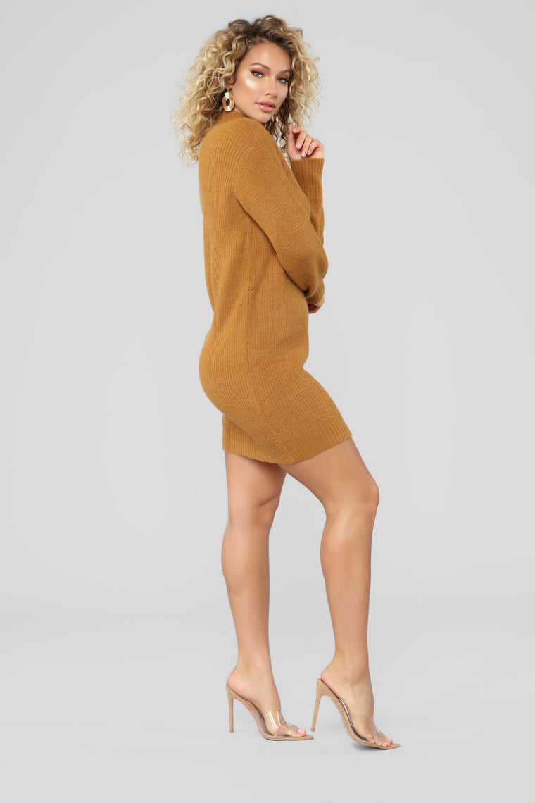 Cold Winter Nights Sweater Dress - Mustard