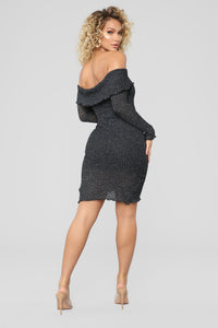 Hug Me Forever Off Shoulder Dress - Charcoal