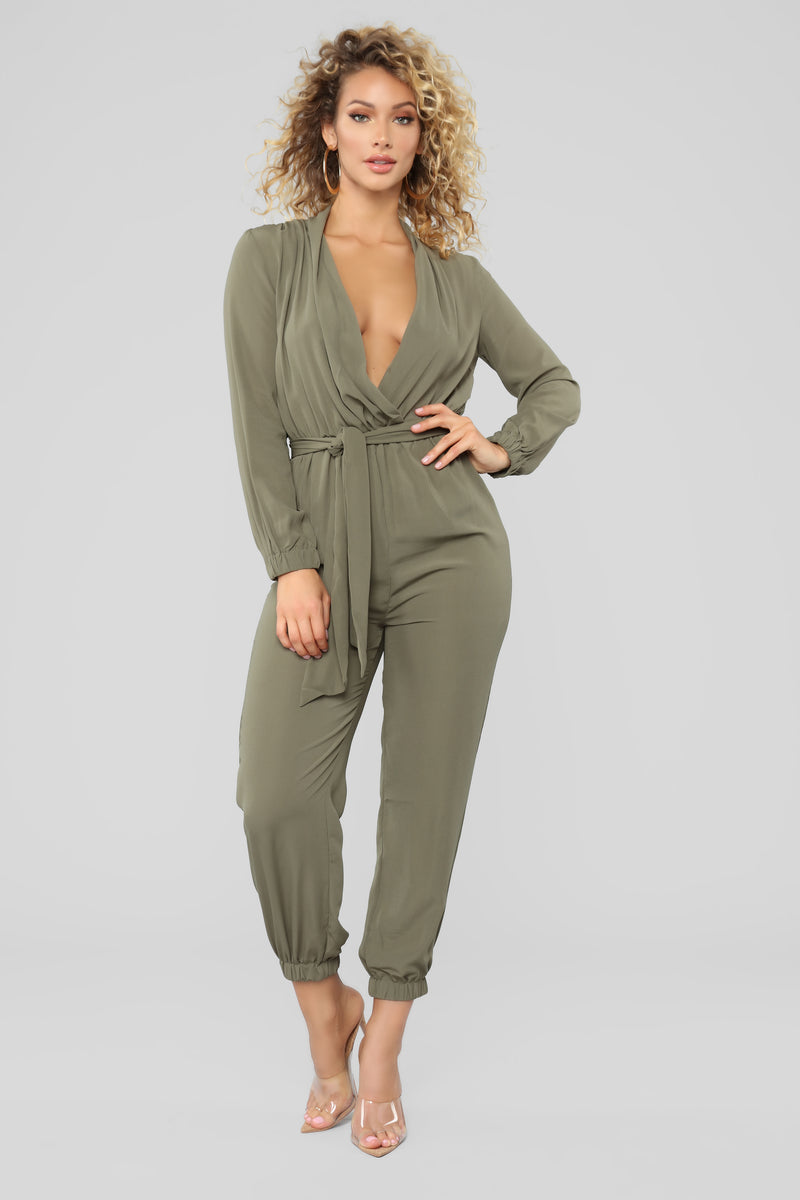 998dbe8219c Stroll At The Plaza Jumpsuit - Olive