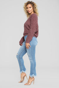 Cuddle Up With Me Sweater - Dust Plum