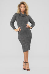 Warming Up To The Idea Sweater Dress   Charcoal by Fashion Nova