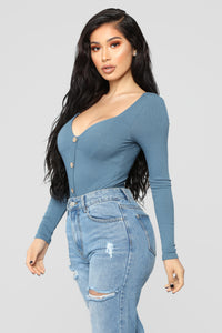 Stephanie Ribbed Bodysuit - Slate