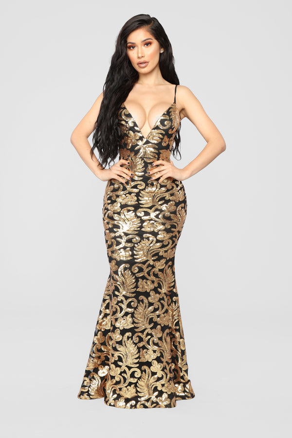 The Golden Age Sequin Gown - Black Gold 1125507b83d1