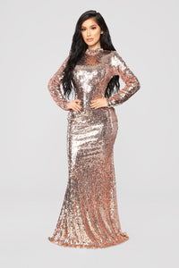 Practically Famous Sequin Dress - Rose Gold