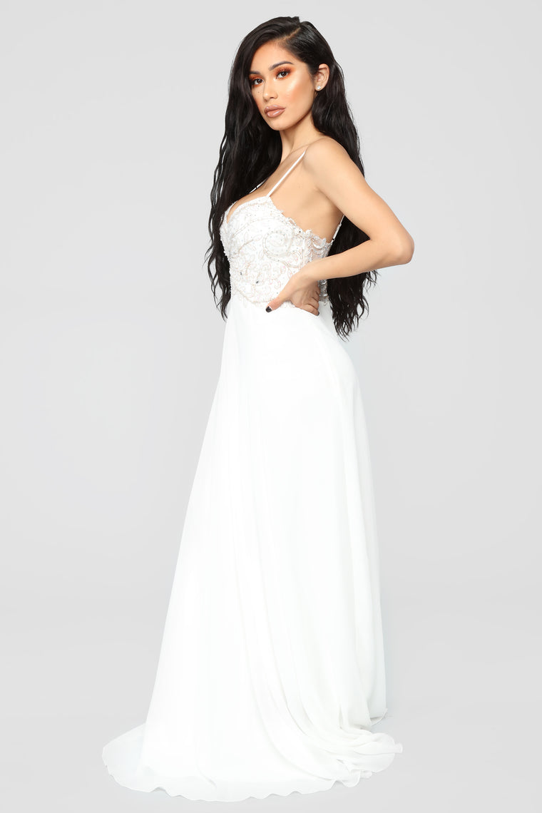 Delicate And Dainty Embellished Gown - Off White